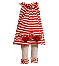 Bonnie Jean® Baby Girls' Red/White Striped Heart Leggings Set