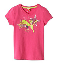 PUMA® Girls' 7-16 Pink Star V-Neck Tee