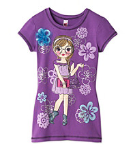 Beautees Girls' 7-16 Purple 3D Girl and Flower Tee