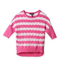 Jessica Simpson Girls' 7-16 Pink Admire High-Low Striped Sweater