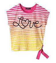 Jessica Simpson Girls' 7-16 Pink Pop Striped Graphic Tee