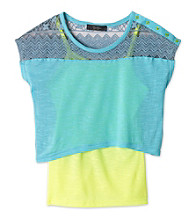 Jessica Simpson Girls' 7-16 Blue/Yellow Poprock 2fer Popover