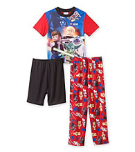 Star Wars® Boys' 4-10 Red/Blue 3-pc. Galaxy Pajama Set