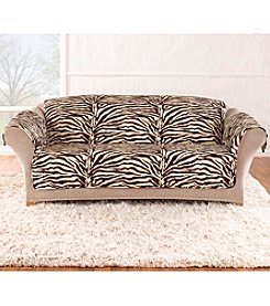 Sure Fit® Velvet Zebra Quilted Quik Loveseat and Sofa Pet Cover
