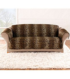 Sure Fit® Velvet Brown Leopard Quilted Quik Loveseat and Sofa Pet Cover