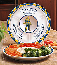 Memory Company Gameday NCAA West Virginia Univeristy Ceramic Chip and Dip Tray