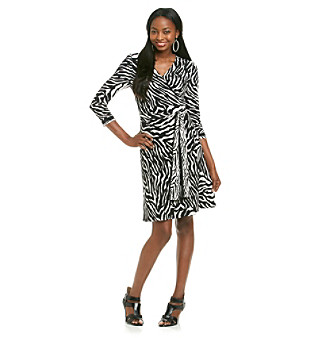 Evan-Picone® Zebra Print Wrap Dress