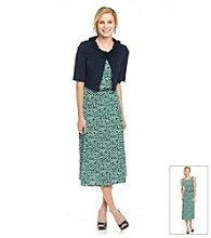 Jessica Howard® Petites' Ruffle-Neck Jacket and Printed Dress