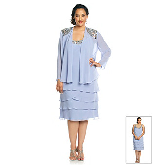 S.L. Fashions Plus Size Chiffon Jacket and Tiered Dress