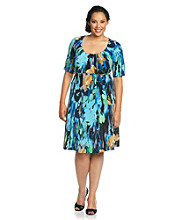 London Times® Plus Size Printed Dress