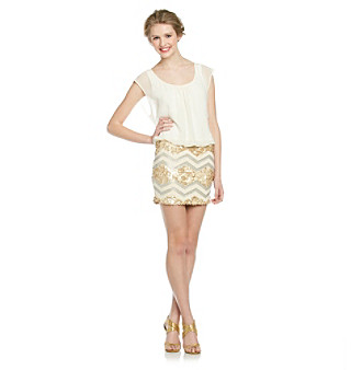 As U Wish® Juniors' Chiffon Sequin Layered-Look Dress