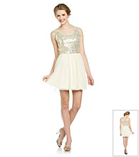 As U Wish® Juniors' Gold Sequin Party Dress