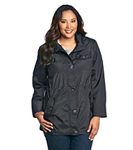 Relativity® Plus Size Patch Pocket Hidden Anorak Coat