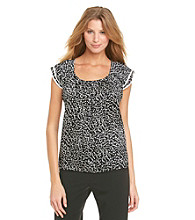 NY Collection Dot Printed Top With Trim