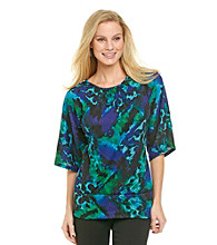 NY Collection 3/4 Sleeve Printed Top With Banded Bottom