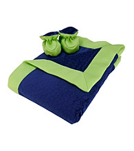 Trend Lab Navy Blue/Green Mosaic Burnout Velour Blanket and Booties Set