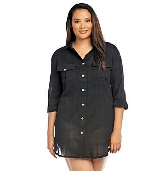 "Dotti® Plus Size ""Day Trip"" Safari Shirt Cover Up"