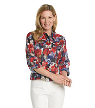 Ruby Rd.® Point Collar All Over Floral Print Shirt