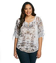 Oneworld® Plus Size Printed 3/4 Sleeve Peasant Woven Top