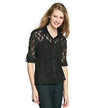 Belle du Jour Juniors' Allover Lace Shirt