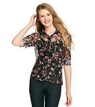 Belle du Jour Juniors' Allover Lace Floral Print Shirt