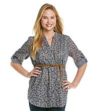 Eyeshadow® Juniors' Plus Size Button-Front Belted Tunic