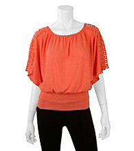 A. Byer Juniors' Crochet Trim Dolman Top