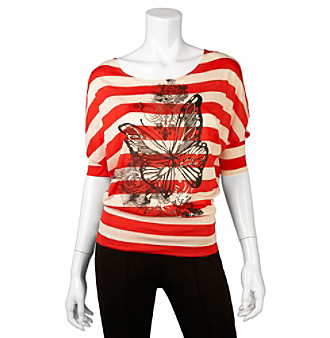 A. Byer Juniors' Butterfly Print Stripe Dolman Top