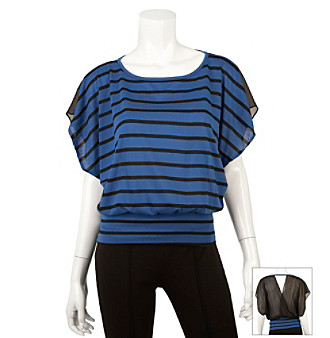 A. Byer Juniors' Stripe Banded Bottom Dolman Top