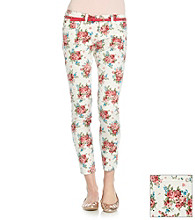 Wallflower Vintage® Juniors' Rose Print Belted Skinny Jeans