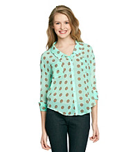 Sequin Hearts® Juniors' Polka Dot Shirt