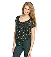 Sequin Hearts® Juniors' Tie-Front Bird Print Shirt