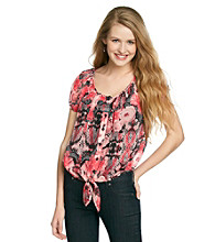 Sequin Hearts® Juniors' Tie-Front Floral Print Shirt