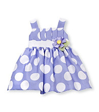 Rare Editions® Baby Girls' Perwinkle/White Polka-Dot Shantung Dress