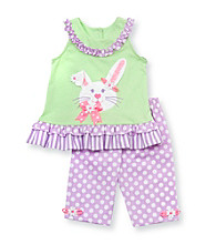 Rare Editions® Baby Girls' Green/Purple Easter Bunny Leggings Set