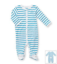 Carter's® Baby Boys' White/Blue Striped Cotton Easter Bunny Footie