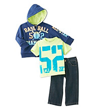 Nannette® Baby Boys' Navy 3-pc. Baseball Hoodie Set