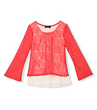 Amy Byer Girls' 7-16 Coral Lace Popover Top