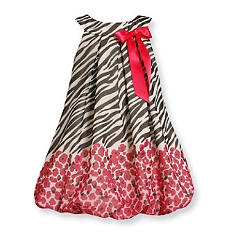 Bonnie Jean® Girls' 4-6X Black/White/Pink Zebra Bubble Dress