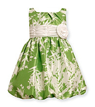 Bonnie Jean® Girls' 2T-6X Green Leaf Print Shantung Dress