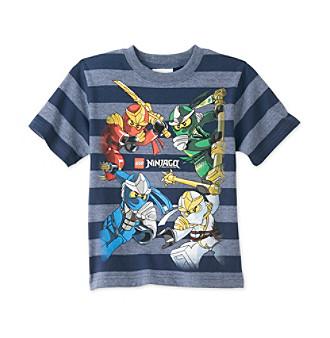 LEGO Boys' 4-7 Navy Short Sleeve Striped Ninjago Tee Kid's