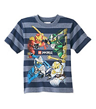 LEGO® Boys' 4-7 Navy Short Sleeve Striped Ninjago Tee