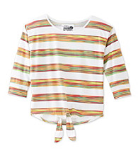 Mambo® Girls' 7-16 Printed Striped Tie Front Tee