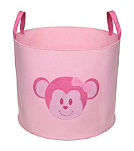 Delta Felt Storage Bin with Handles - Barely Pink Monkey