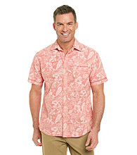 Paradise Collection® Men's Red Short Sleeve Chambray Printed Slub Woven