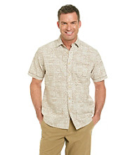 Paradise Collection® Men's Short Sleeve Chambray Floral Printed Slub Woven