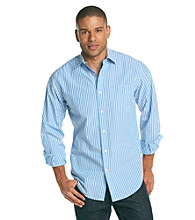 John Bartlett Consensus Men's Azure Blue Striped Pattern Washed Woven
