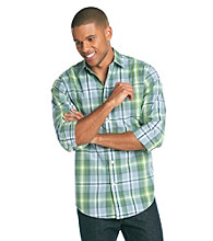 John Bartlett Consensus Men's Mint Olive Plaid Pattern Washed Woven