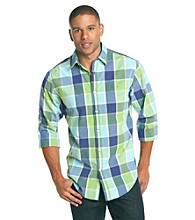 John Bartlett Consensus Men's Bold Plaid Pattern Washed Woven