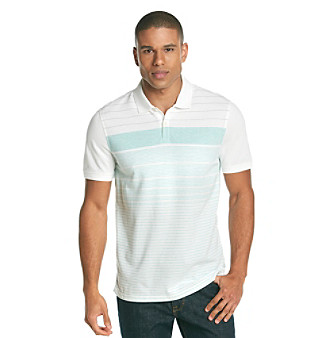 Calvin Klein Men's White Short Sleeve Striped Pique Polo